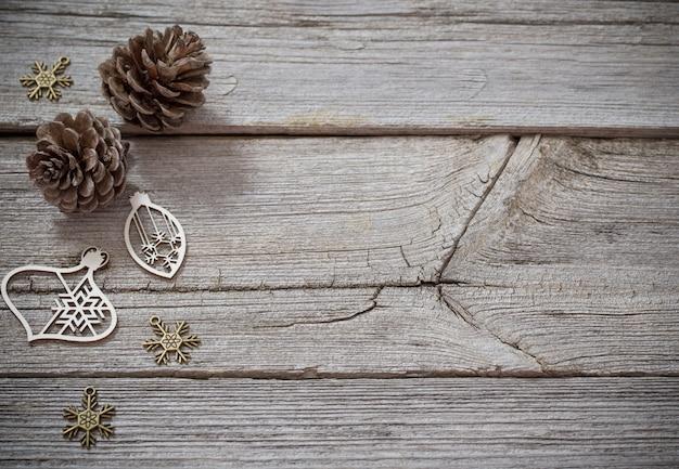 Fundo de natal com decoração em madeira