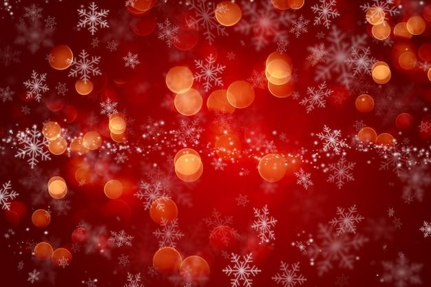Fundo de natal com desenho de floco de neve e luzes bokeh