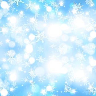 Fundo de natal com desenho de flocos de neve caindo