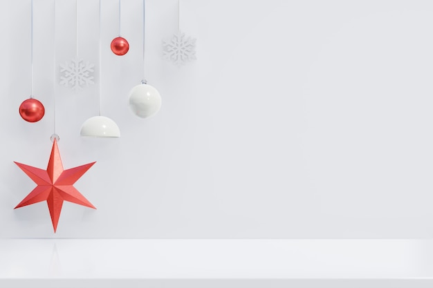 Fundo de natal com estrela vermelha para ramos em fundo branco de madeira, renderização em 3d