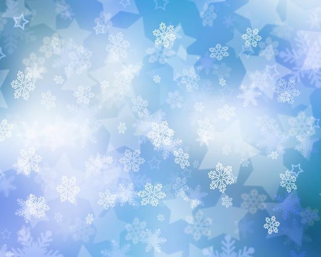 Fundo de natal com flocos de neve caindo e estrelas