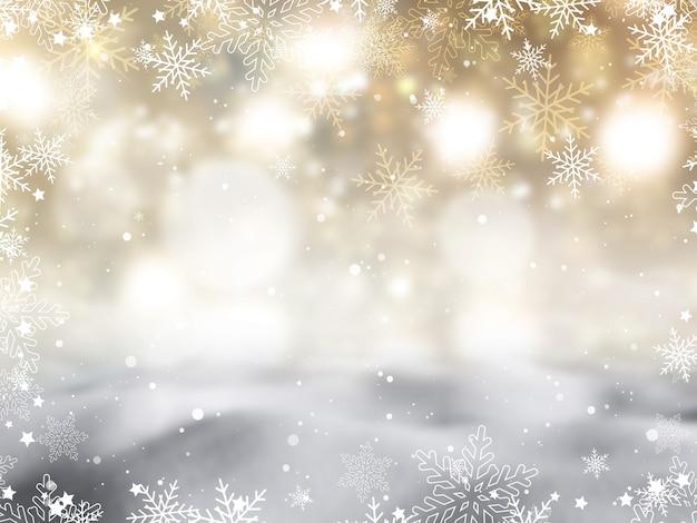 Fundo de natal com flocos de neve e design de estrelas