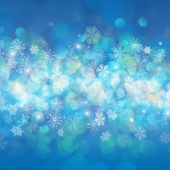 Fundo de natal com flocos de neve e estrelas