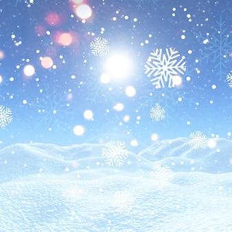 Fundo de natal com flocos de neve e neve