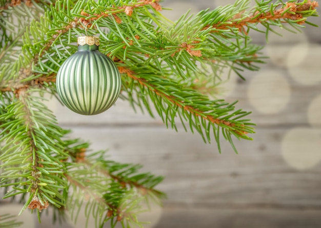 Fundo de natal com galho de árvore de natal e enfeite