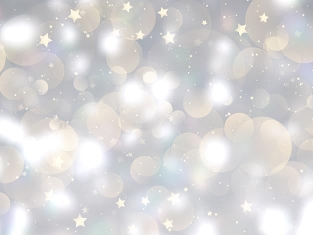 Fundo de natal com luzes bokeh e design de estrelas