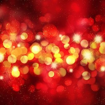 Fundo de natal com luzes de bokeh e estrelas