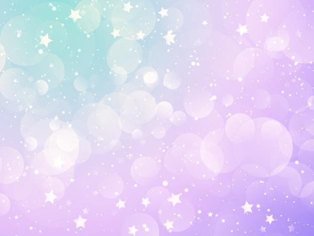 Fundo de natal com luzes de bokeh pastel e design de estrelas