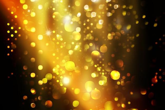 Fundo de natal com luzes e estrelas bokeh