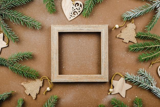 Fundo de natal com moldura de madeira