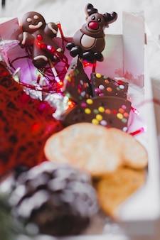 Fundo de natal com pão de gengibre