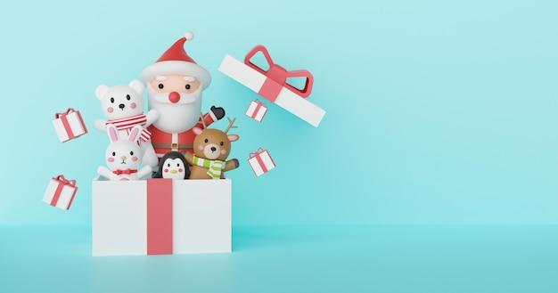 Fundo de natal com papai noel e amigos em uma caixa de presente. renderização em 3d.