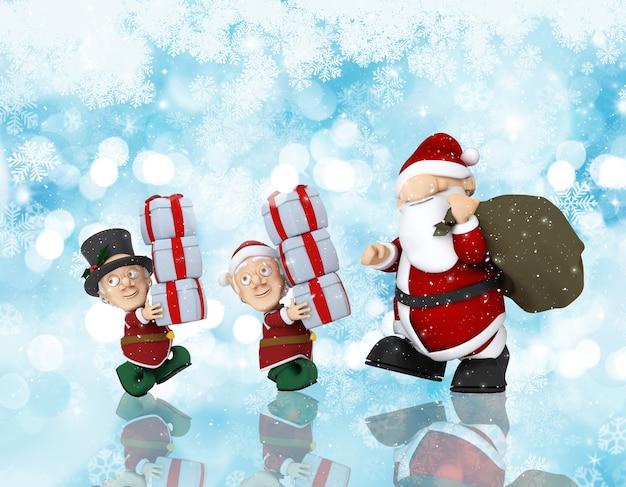 Fundo de natal com renderização 3d do papai noel e seus ajudantes