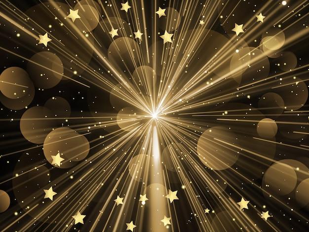 Fundo de natal com starburst, estrelas e desenho de luzes bokeh