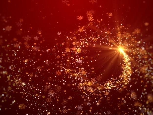 Fundo de natal com tema de flocos de neve vermelhos cintilantes.