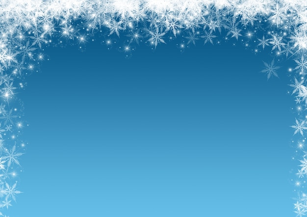 Fundo de natal com uma borda de flocos de neve e estrelas