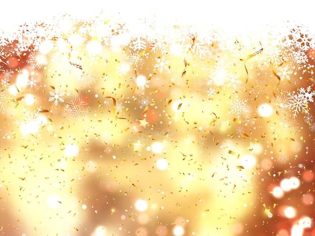 Fundo de natal de flocos de neve caindo e confetes
