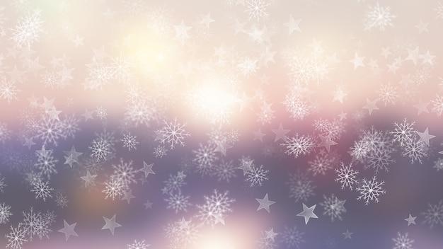 Fundo de natal de flocos de neve e estrelas