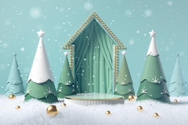Fundo de natal de inverno com árvore de natal e suporte, pódio, pedestal para apresentação de produtos, renderização em 3d.