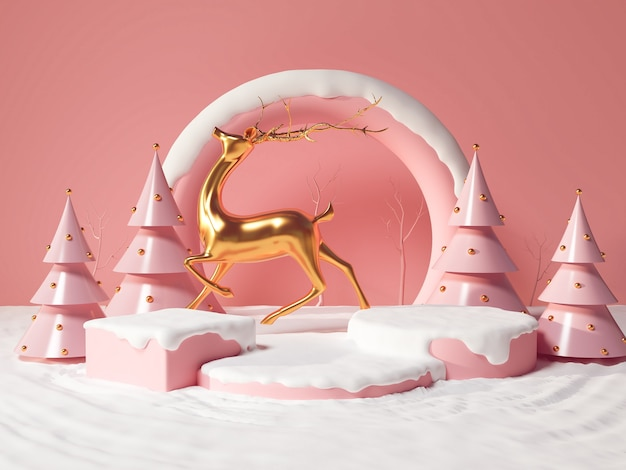 Fundo de natal de inverno com veado de ouro, árvore de natal e suporte, pódio, pedestal para apresentação do produto, renderização em 3d.
