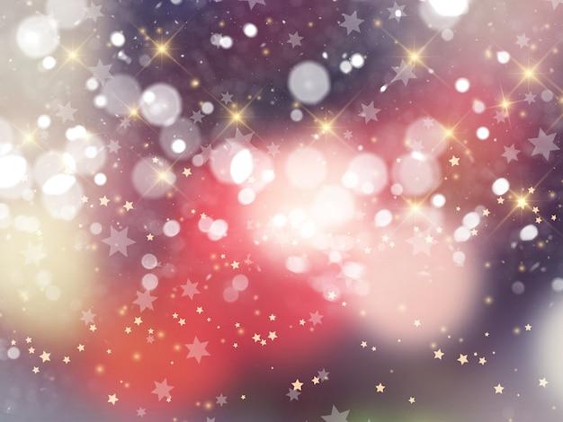 Fundo de natal de luzes de bokeh e estrelas