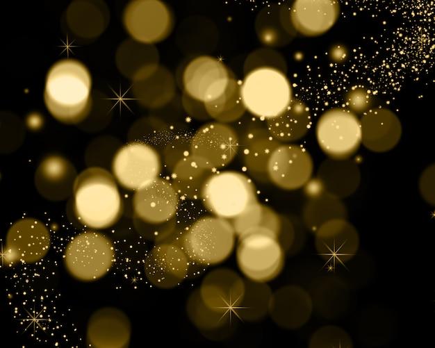 Fundo de natal de luzes de bokeh, estrelas e luzes de brilho