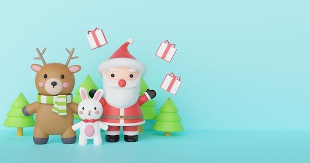 Fundo de natal e feliz ano novo com papai noel e amigos