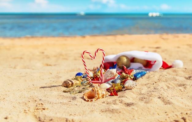 Fundo de natal na praia com conchas na areia.