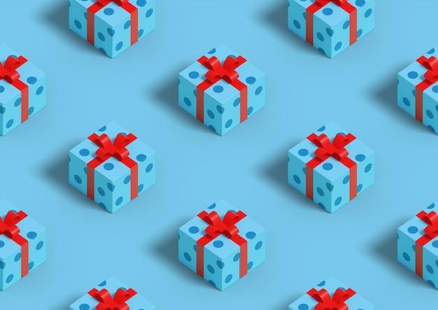 Fundo de natal. padrão sem emenda isométrico de caixas de presente em fundo azul.