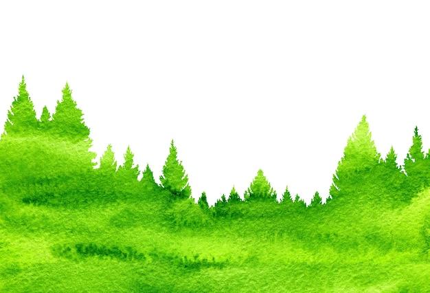 Fundo de natureza abstrata de aquarela paisagem com pinheiros
