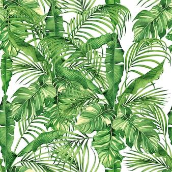 Fundo de natureza tropical aquarela com folhas de palmeira de mão desenhada sem costura de fundo.