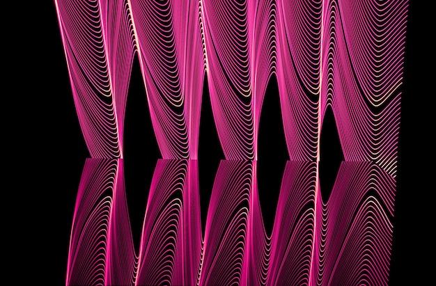 Fundo de néon brilhante desenhado por linha, filmado com longa exposição, rosa