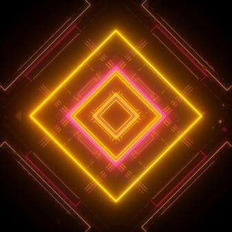 Fundo de néon em estilo cúbico padrão amarelo-rosa renderização em 3d