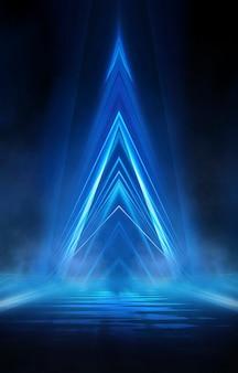 Fundo de néon escuro abstrato azul com linhas e holofotes, luz de néon azul, visão noturna