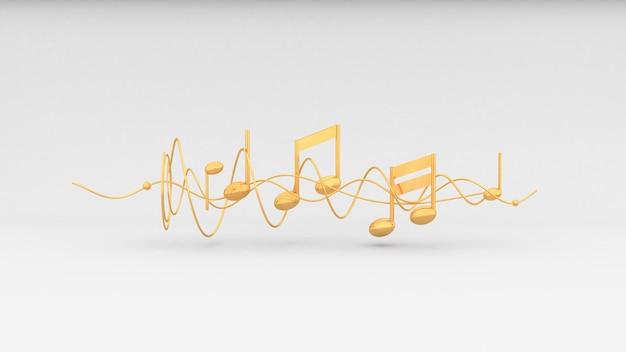 Fundo de notas musicais douradas, renderização em 3d