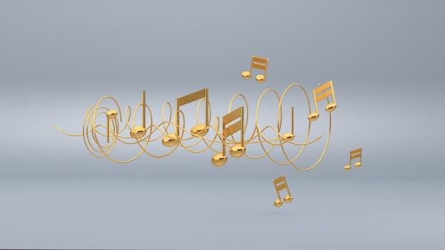 Fundo de notas musicais, renderização em 3d