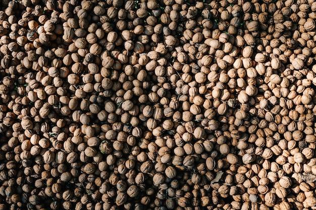 Fundo de nozes, textura. noz inteira, conceito de comida orgânica saudável.
