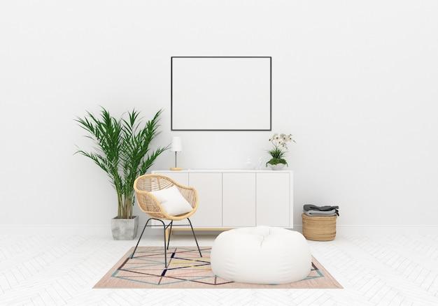 Fundo de obras de arte horizontal de maquete interior escandinavo