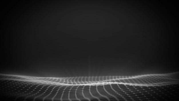 Fundo de onda digital, título abstrato, animação borrada de partícula perfeita.