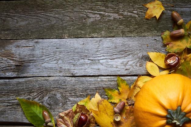 Fundo de outono de ação de graças, superfície de madeira com abóboras, folhas murchas, bolotas e castanhas