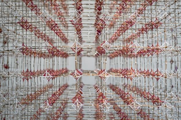 Fundo de padrão de grade de madeira e fio