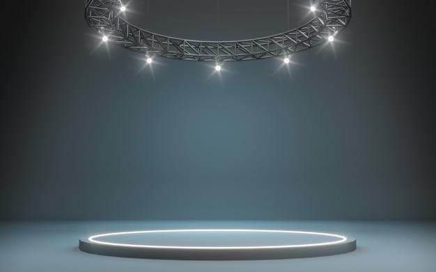 Fundo de palco com holofotes. renderização em 3d