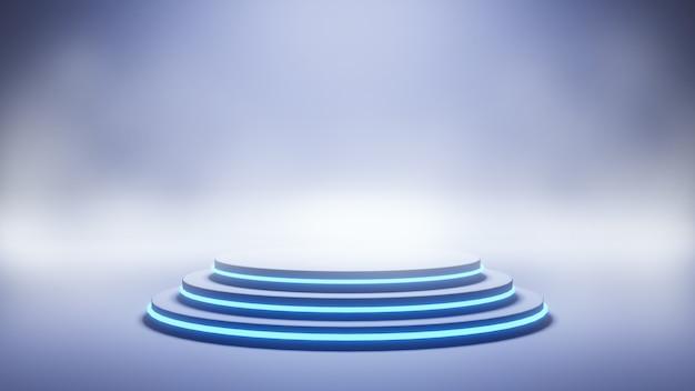 Fundo de palco moderno em néon azul, renderização em 3d