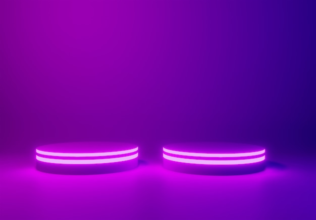 Fundo de palco ou pódio de néon, render 3d