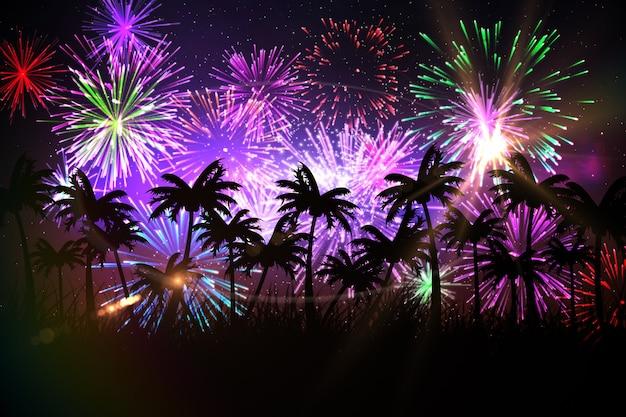 Fundo de palmeira gerada digitalmente com fogos de artifício