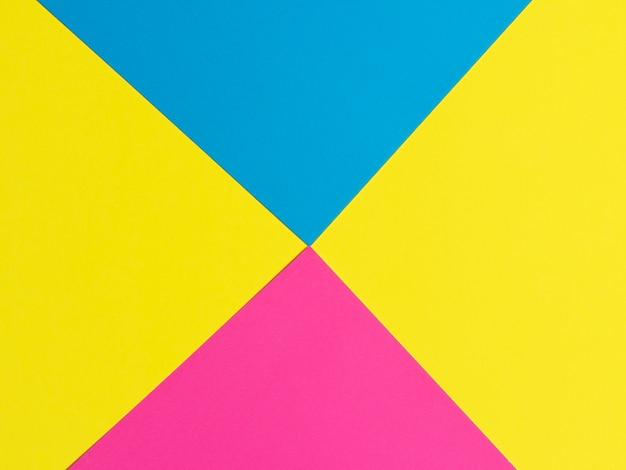 Fundo de papel amarelo roxo azul. . figuras geométricas, formas. composição plana geométrica abstrata
