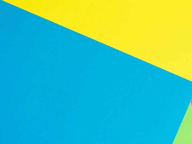 Fundo de papel amarelo verde azul. . figuras geométricas, formas. composição plana geométrica abstrata