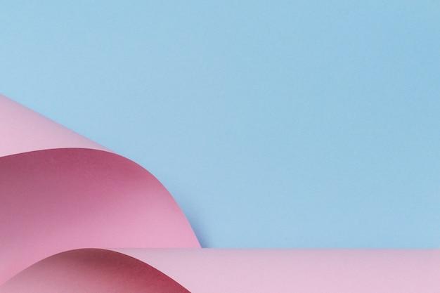Fundo de papel de forma geométrica abstrata rosa pastel e azul