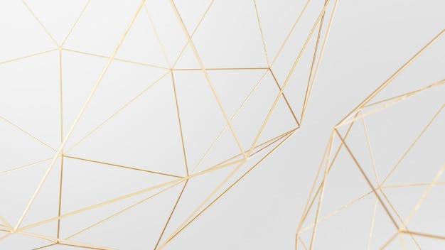 Fundo de papel de parede abstrato geométrico branco e dourado, 3d render