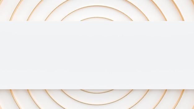 Fundo de papel de parede abstrato geométrico redondo branco e dourado 3d render